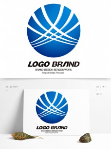 简约现代蓝色线条公司标志LOGO设计