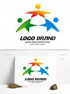 简约现代红蓝绿星形公司标志LOGO设计