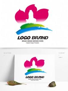简约现代蓝绿粉荷花LOGO公司标志设计