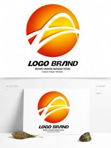 简约现代红黄线条公司标志LOGO设计
