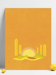 金色剪纸风麦穗背景素材