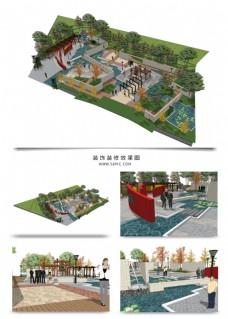 公园景观规划SU透视模型