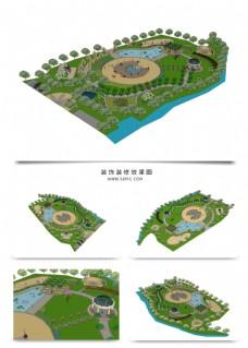 园林景观SU透视模型