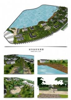 沿湖小区规划SU模型