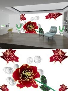 白色珠子红色花背景墙
