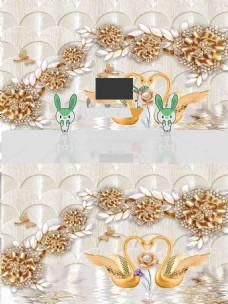 现代简约时尚3D浮雕花朵背景墙