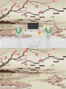 新中式花鸟徽派建筑背景墙