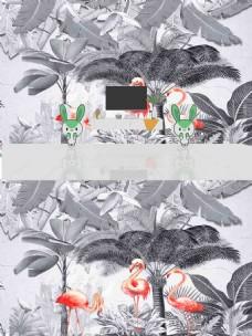 北欧热带植物火烈鸟背景墙