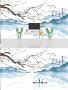 新中式水墨山水花鸟背景墙
