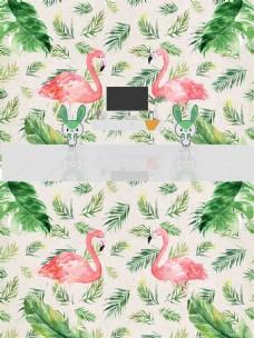 北欧水彩热带植物火烈鸟背景墙