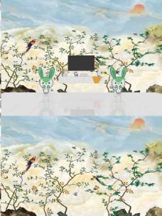 新中式花鸟大理石背景墙