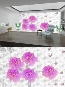 粉色花旁气泡多背景墙