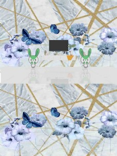 北欧几何简约时尚花朵背景墙