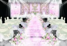 粉色欧式婚礼舞台效果图