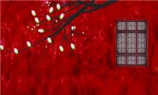 红墙白玉兰古色窗台