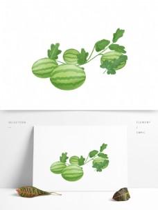 卡通手绘绿色西瓜水果免扣素材