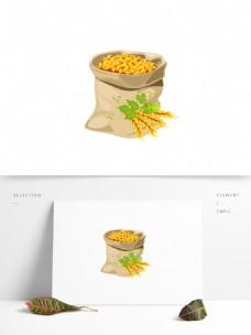小麦粮食矢量元素一袋粮食