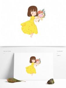 情人节手持玫瑰的幸福女孩原创手绘元素