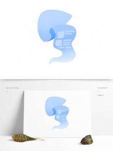 账单漂浮的蓝色纸张