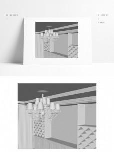 欧式吊灯室内模型小场景