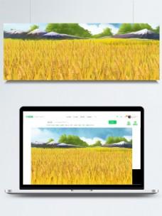卡通手绘小满节气小麦手绘背景