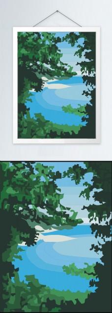 森林风景装饰挂画(解组可编辑)