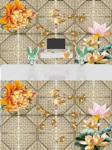 现代简约时尚3D浮雕花朵软包立体背景墙