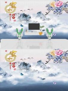 新中式山水花朵背景墙