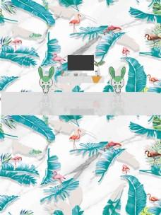 北欧简约时尚热带植物背景墙