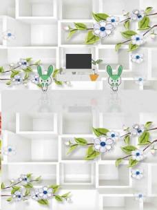现代简约时尚3D浮雕珠宝花朵立体背景墙