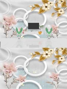 现代简约时尚浮雕花朵丝绸背景墙