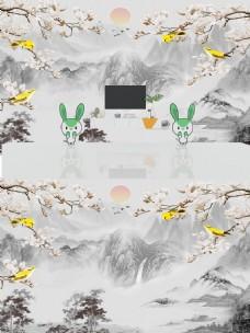 新中式花鸟山脉背景墙