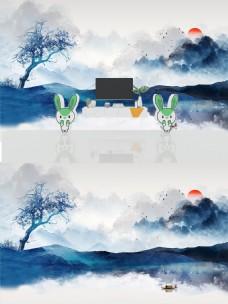 蓝色水墨山水电视背景墙