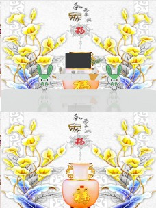 3D现代简约时尚浮雕珠宝花朵背景墙