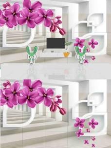 3D花朵立体背景墙
