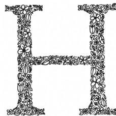 手绘花卉装饰矢量字母素材