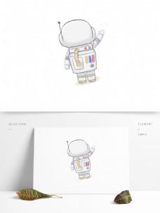 手绘卡通航天员元素