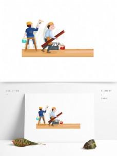 手绘卡通装修刷墙工人图案元素