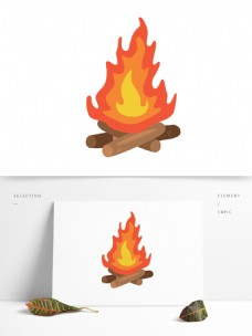 火苗篝火矢量卡通元素