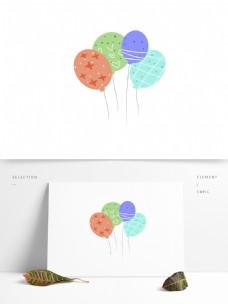 扁平化彩色气球插画元素