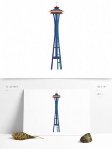 手绘经典建筑澳门塔设计元素