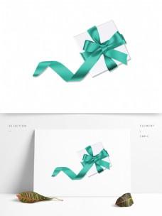 蓝色丝带的礼物盒素材