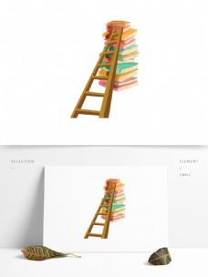彩绘创意书梯图案元素