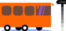 现代大巴车公交车图案