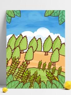夏季彩绘麦穗树林背景素材