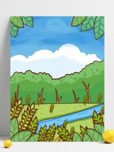 手绘小满节气小麦树林背景素材
