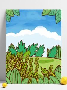 手绘夏至节气草丛麦穗背景素材