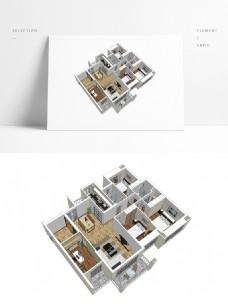 三房户型住宅设计SU模型