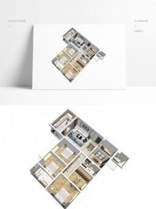 住宅样板房四居室户型SU模型