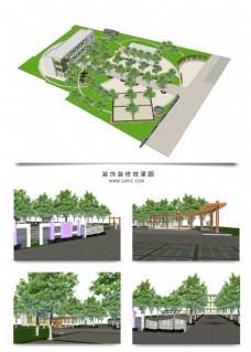 草图大师景观规划方案模型
